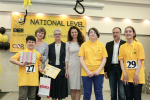 Award ceremony from 2015 National Spelling Bee (from left to right): Teodor Enchev, 2015 Spelling Bee champion; Valya Zavyalova, Program Director, CORPluS Foundation; Jean Olson, Information officer, US Embassy Sofia; Natalia Miteva, Director of Programs for Education, America for Bulgaria Foundation ; Tanya Irinkova, 3rd place, Dimitar Tsekov, Executive Director, CORPluS; Lia Lazaridi, runner-up